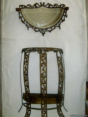 Beautiful Console + mirror with hooks. Console-stand umbrellas. Bronze.