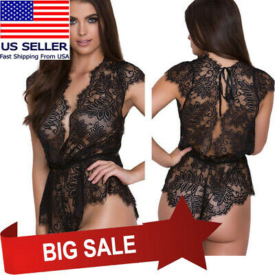 Sheer Black Floral Trim Lace Waist Tie Lingerie Sleeve Teddy Bodysuit  Romper S-L 7f30bb326