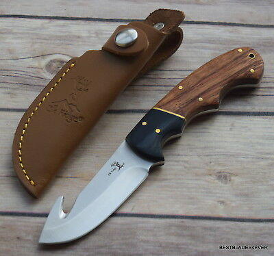 7.5 Inch Overall Elk-Ridge Fixed Blade Gut Hook Full Tang Knife With Sheath