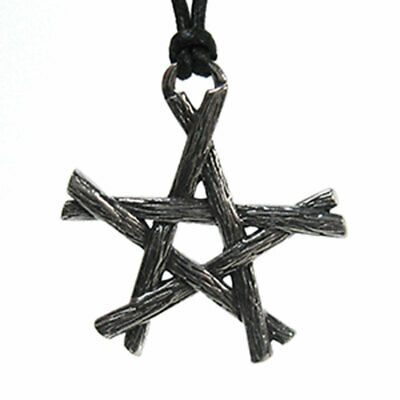 """Rustic Pentagram Pendant 1.25"""" NEW Pewter Tree Branch Wicca Amulet - US Made!"""