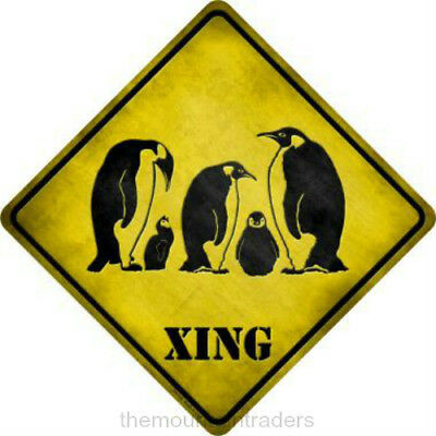 Penguin Crossing Metal Sign Indoor / Outdoor Collector Lover Gift New Made USA