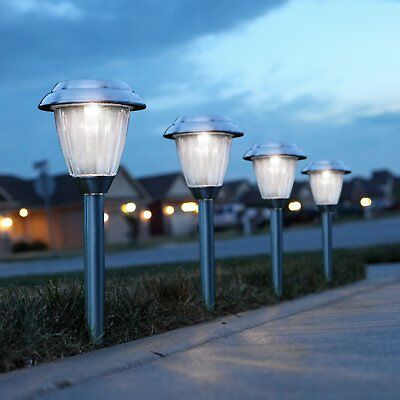8 PACK Outdoor Solar Power Stainless Steel Lights Garden Pathway LED Yard Lamp