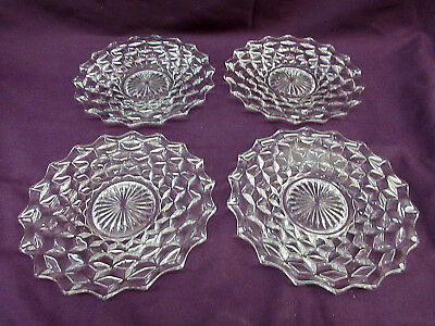 """Set of 4 AMERICAN by FOSTORIA - 7 3/4"""" SALAD PLATES - 3 Part Mold - EXCELLENT"""