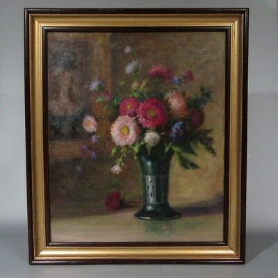 VintageFrench Oil Painting, Bouquet of Flowers Vase Portrait of a Woman, Signed