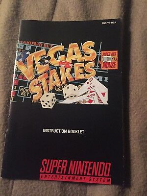 Vegas Stakes (Super Nintendo SNES) Instruction Manual Booklet Only
