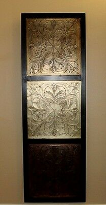 """Wall Art Large Wood Framed Tin Ceiling Tile 42 1/8"""" x 14"""" x 1 1/16"""" India"""