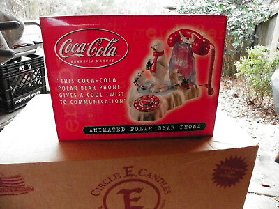 Coca Cola Animated Polar Bear Phone New In Box Never Taken Out if Box