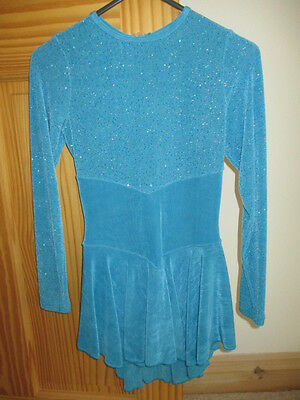 **Pretty Blue With Detailing Long Sleeve Skating Dress**