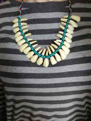 Authentic NATIVE AMERICAN INDIAN Horse TOOTH NECKLACE TEETH Real Old Navajo