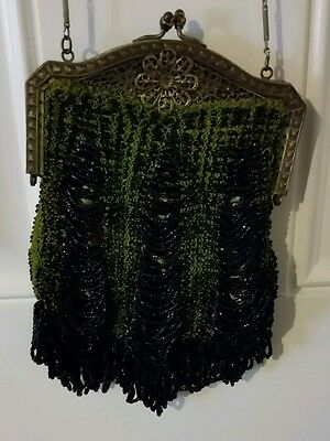 Antique Green Black Beaded Fringe Ornate Metal Purse Handbag Cloth Interior
