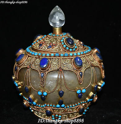"9"" Tibet Natural Crystal inlay Gem Filigree Bottle Tank Kettle Pot Cruse Statue"
