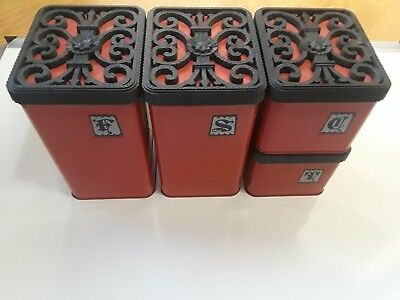 Vintage Lincoln Beautyware Canister Set Red 4 Canisters with Black Lids