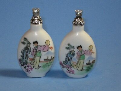 Two Vintage Chinese Hand Painted Porcelain Snuff Bottles