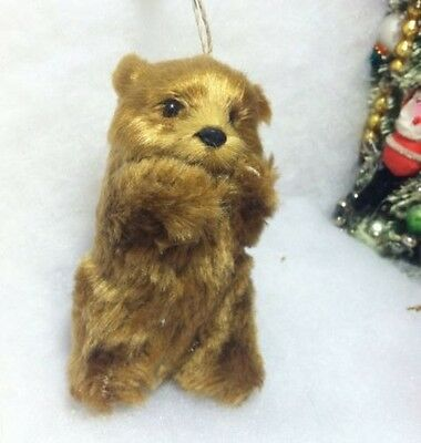 Brown Standing Bear Faux Fur Christmas Tree Ornament