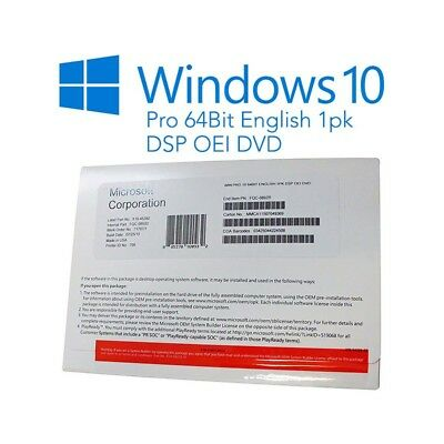 license package windows 10 professional 64bit english 1pk new and complete