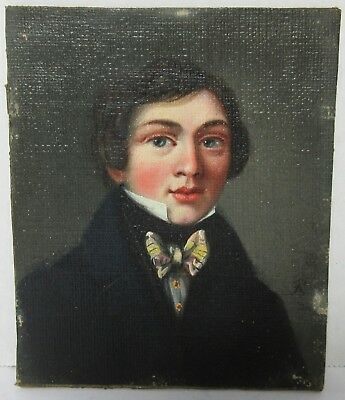 Antique 19TH CENTURY MINIATURE PORTRAIT PAINTING YOUNG MAN SIGNED PB