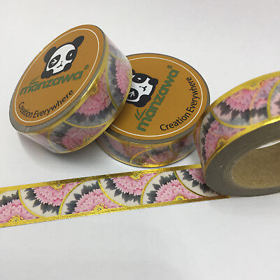 Washi Tape Gold Foil Floral Fan Border 15Mm Wide X 10Mtr Roll Plan Wrap Craft