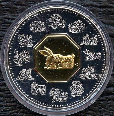1999 Canada 15$ Year Of Rabbit (40mm Dia.34 Grams.925 Silver 24K Plated Center)
