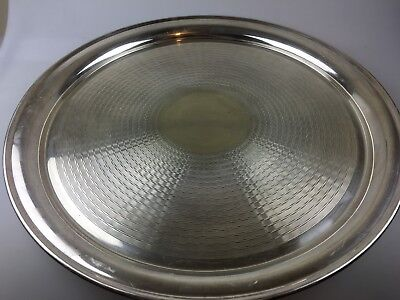 VINTAGE - SILVER PLATE WALKER & HALL LARGE ROUND SERVING TRAY - 40cm ACROSS