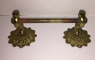 Vintage GLO MAR ARTWORKS Ornate Brass Toilet Paper Holder or Hand Towel Bar Rod