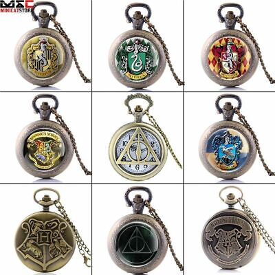 Vintage Antique Harry Potter Design Pocket Watch Quartz Pendant Necklace Chain
