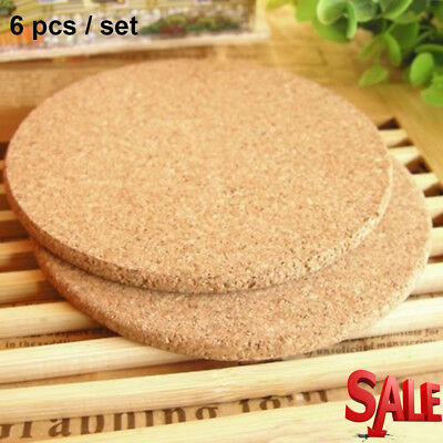 6pcs Drink Coaster Tea Coffee Cup Mat Pads Cork Wood Table Decor Tableware Hot E