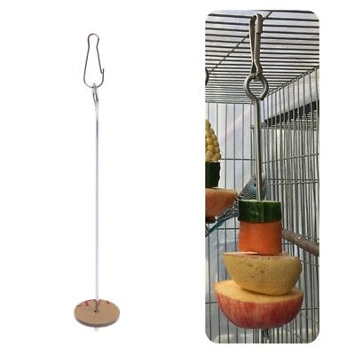 Parrots Birds Food Holder Support Stainless Steel Fruit Spear Stick Meat Skewer