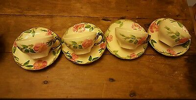 4 Vintage Franciscan Usa Desert Rose Hand Painted Tea Or Coffee Cups