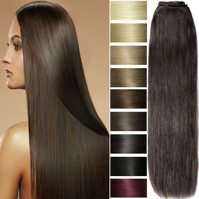 Clip In Double Weft 100% Human Hair Extension Full Head Real Remy Clearance F630