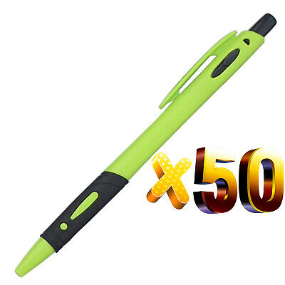 Wholesale lot 50pc plastic green new ballpoint pen,black ink,promotion gift,cool