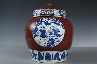 Chinese Beautiful Blue and white glaze red Porcelain With cover Pot