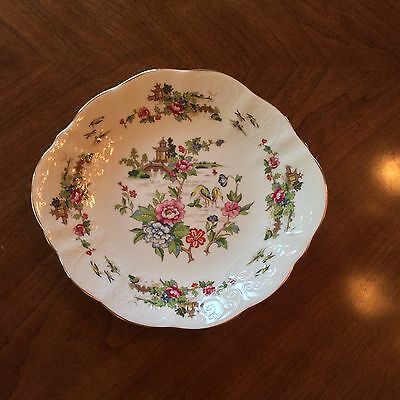 CROWN STAFFORDSHIRE PAGODA Round CAKE PLATE DISH HANDLES PASTEL FLORAL GOLD TRIM