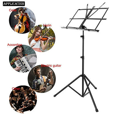 NEW Folding Music Conductor Stand Adjustable Metal Stage Sheet Tripod Holder OY