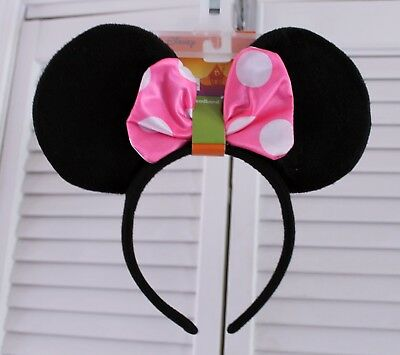 MINNIE MOUSE Ears Halloween Headband-NEW-Pink White Bow-Disney