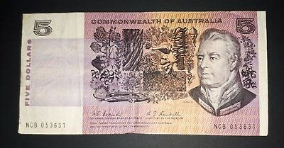 1967 $5 five dollar Coombs Randall Commonwealth of Australia banknote, aVF