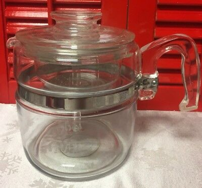 Vintage Pyrex Flameware 6 Cup Coffee Percolator With Inserts No. 7756