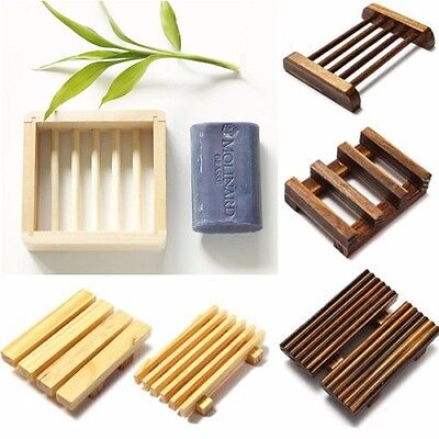 1PC Natural Wooden Soap Dish Storage Tray Holder Bath Shower Plate Bathroom AU