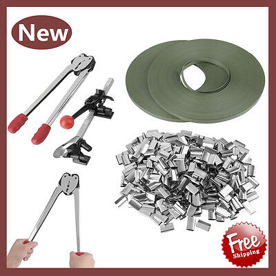STRAPPING TOOL Complete Kit + Metal Seals + 2 Poly Strap Banding Roll Supply Set