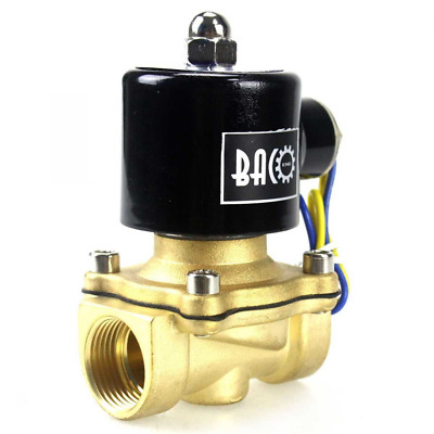 """BACOENG 3/4""""BSP DC12V Brass Electric Solenoid Valve N/C for Air Water Oil"""