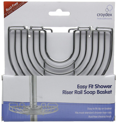 Croydex Chrome Plated Rust Free Mild Steel Easy to Fit Riser Rail Soap Basket