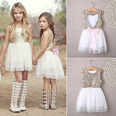 Kid Girl Princess Sequins Tutu Dress Backless Wedding Party Bridesmaid Dresses