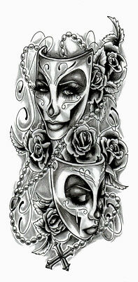 High Quality 8.5cm x 4cm Fake Tattoo Vintage Mask Waterproof Temporary Body Art