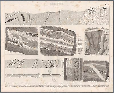 c1882 Brockhaus Print Geology Ores Layers Veins Structure