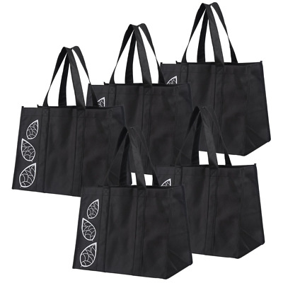 Collapsible Shopping Bags Set of 5 Piece Large Reusable Reinforced Tote Grocery