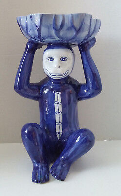 """Blue and White Asian style Monkey with Bowl on Head 14"""""""