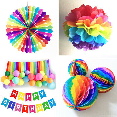 Rainbow Party Hanging Paper Decoration Wedding Bridal Baby Shower Kids Birthday
