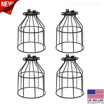 4 PC Industrial Vintage Style Iron Bird Cage Clamp-On Steel Lamp Holder Supmart