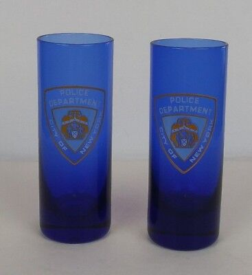 City Of New York Police Department 4 Inch Blue Shot Glasses