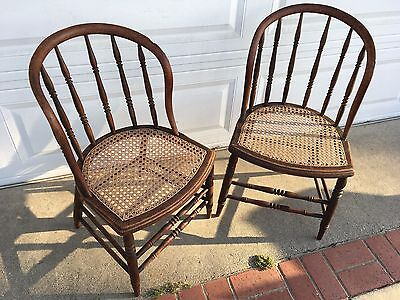 Early 1900's LARKIN Bow Back Side Arm Chairs Caned Seats Windsor Turned Spindles