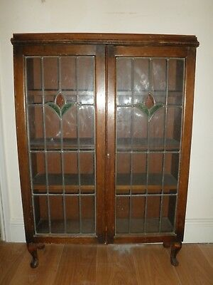 Upcycling Project Antique Bookcase Cabinet Leaded Stained Glass Doors
